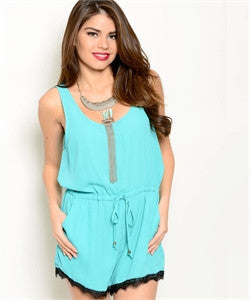Aqua Romper with Black Lace Trim