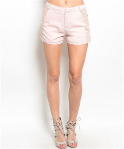Pink Shorts with Lace Side Accents