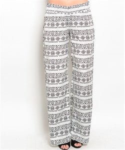 White and Black Printed Pants