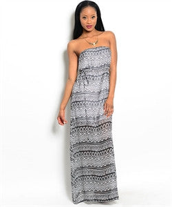 Black and White Strapless Maxi