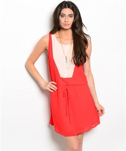 Red Dress with Ivory Accent