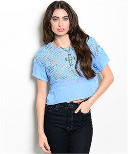 Blue Cropped Blouse