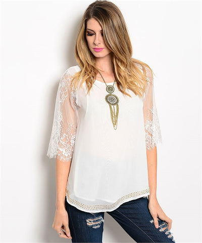 White Top with Lace Sleeves
