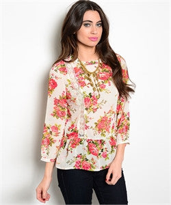Ivory Floral Blouse - dirty south provisions