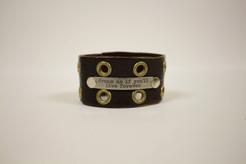 Vintage Brown Leather Dream As If You'll Live Forever Cuff