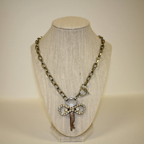Antique Key Necklace with Rhinestone Accents with Toggle Closure