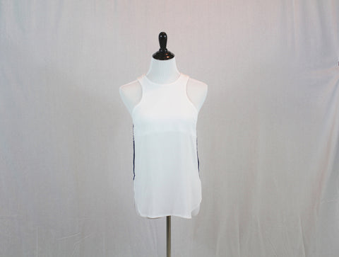 White Sleeveless Blouse with Side Detailed Trim by Jealous Tomato