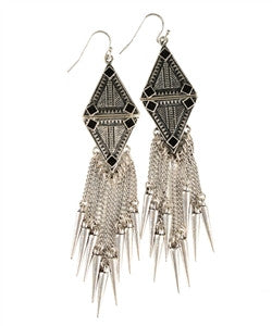 Silver Earrings with Black Accents - dirty south provisions