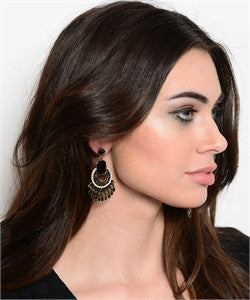 Gold Earrings with Black Stone Accents