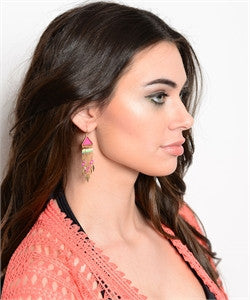 Gold and Pink Earrings