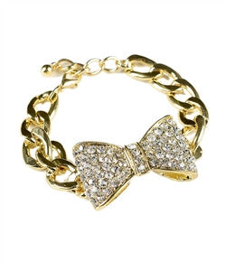 Gold Bow Bracelet with Crystal Accents