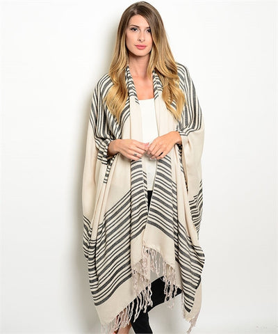Cream with Black Poncho