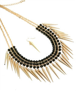Gold with Black Necklace and Earring Set