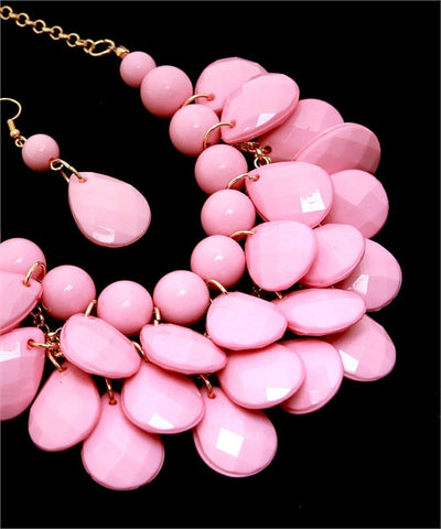 Light Pink Statement Necklace and Earring Set
