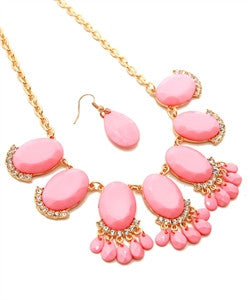 Pink Statement Necklace and Earrings Set