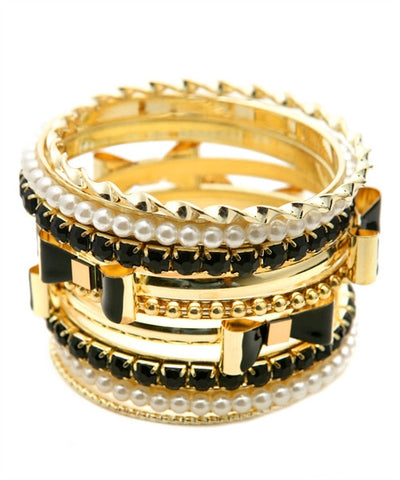Gold with Black Bangle Stack