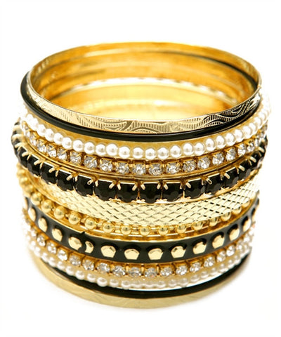 Gold Bangle Stack with Black Stone and Pearl Accents