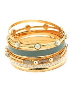 Gold and Grey Bangle Stack with Pearl Accents