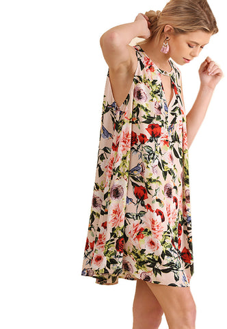 Umgee Women's Sleeveless Floral Print Dress with Keyhole