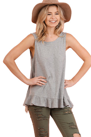 Umgee Women's Sleeveless Top with Back Crochet Detail