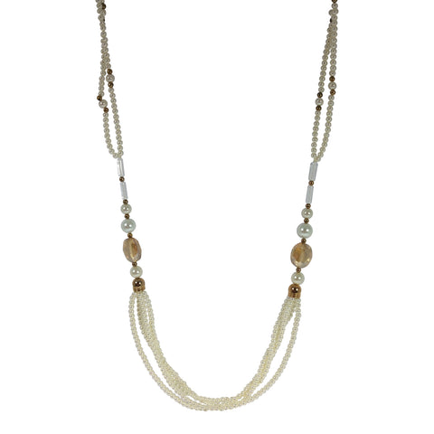 Suzi Long Beaded Pearly Necklace