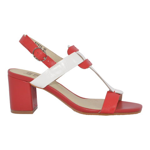Katie n Me - Dixie - Red/white Leather Sandal - Sole Sister Shoes