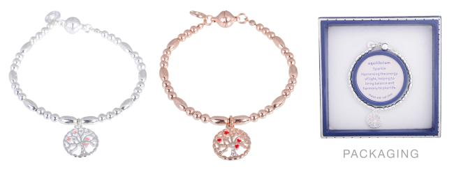 Equilibrium Tree Of Life Bracelet - Rose Gold Plated, Silver Plated - Sole Sister Shoes