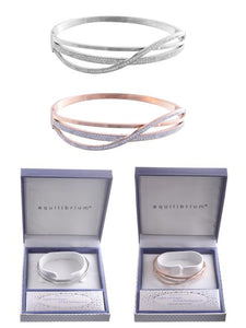 Equilibrium Diamond Bangle - Silver & Rose Gold Plated