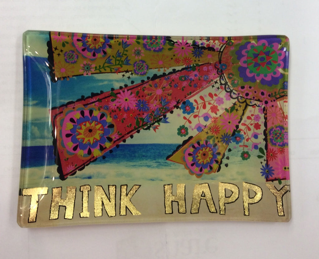 Natural Life - Glass Tray Think Happy