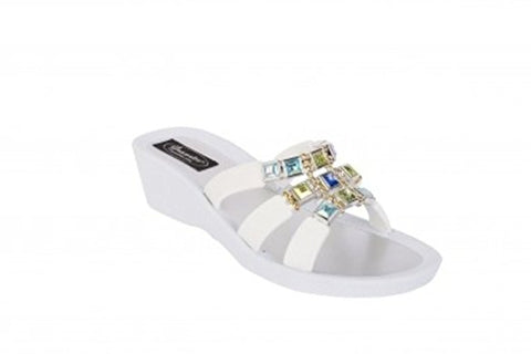 Grandco Bling Thongs - Topaz White Wedge - Sole Sister Shoes