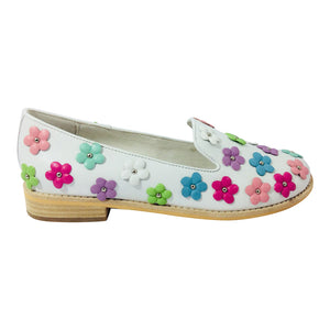 Django & Juliette - Amaya - White with Multi Leather Flowers - Sole Sister Shoes