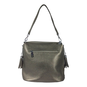 Leather Handbag - Harper - Pewter - Sole Sister Shoes