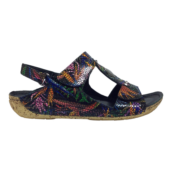Cabello - Jovie - Black Print Sandal - Sole Sister Shoes