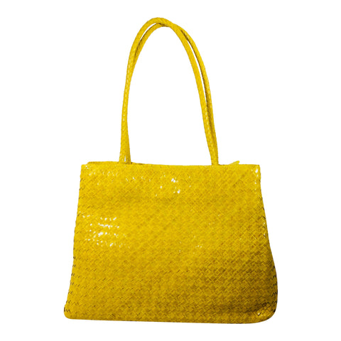 Sasha Weave Leather Hand Bag - Yellow