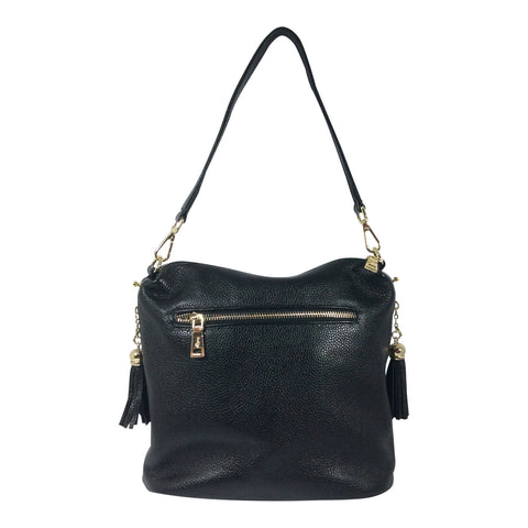 Leather Handbag - Harper -Black with Gold Zips - Sole Sister Shoes