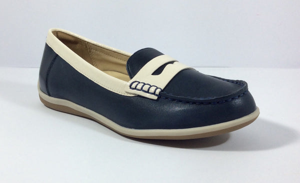 Ziera - Amani - Navy Leather/Cream Patent Loafer