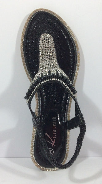 Kirra Beach Sandals - Gerbera - Black Bling - Sole Sister Shoes