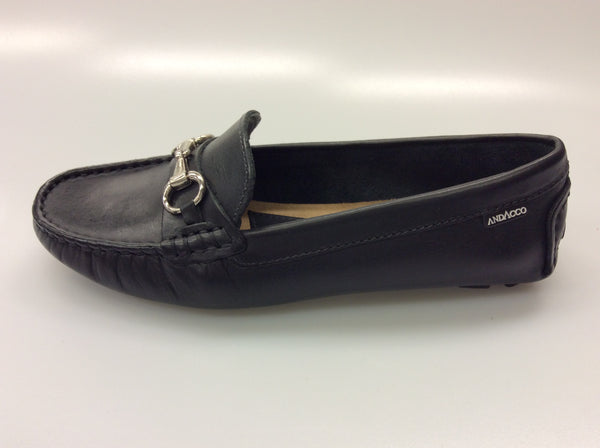 Andacco - Alyssa - Black Leather Moccasin - Sole Sister Shoes