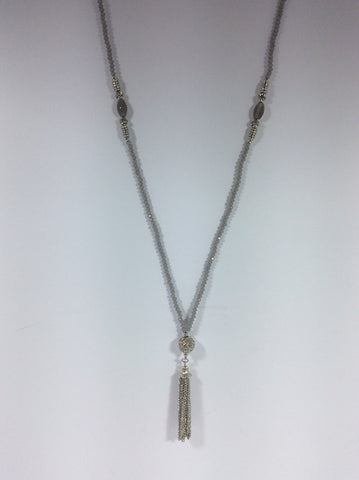 Suzanne - Grey Beaded Necklace with Chain Tassel