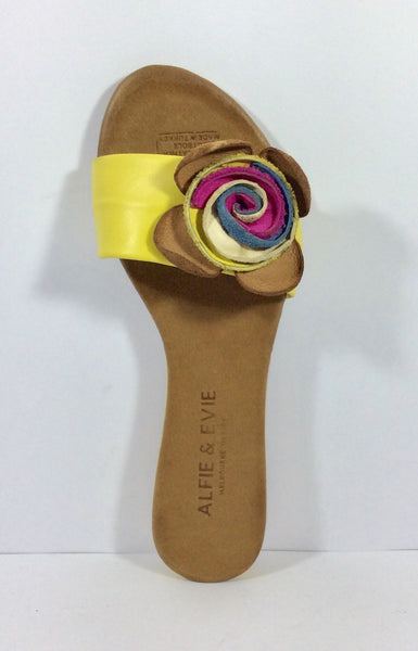 Alfie and Evie - Jackson - Yellow Leather Slide - Sole Sister Shoes
