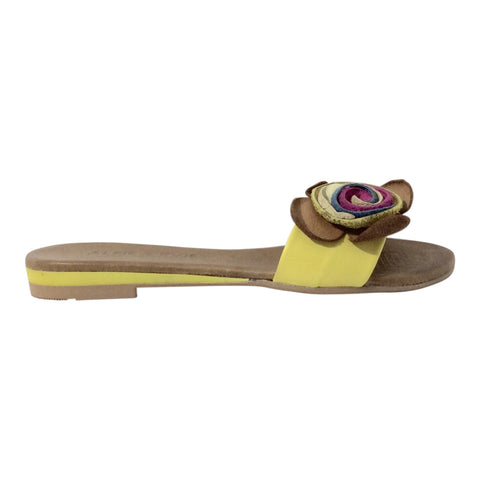 Alfie and Evie - Jackson - Yellow Leather Slide