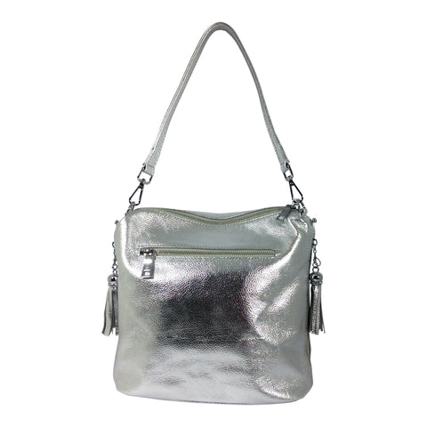 Leather Handbag - Harper - Silver - Sole Sister Shoes