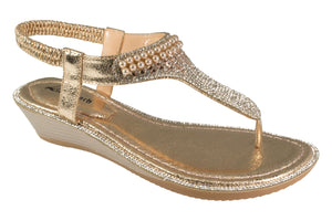 Kirra Beach Sandals - Gerbera - Champagne Bling - Sole Sister Shoes