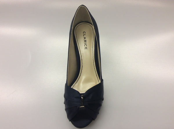 Clarice - Violet- Navy Satin Heels - Sole Sister Shoes