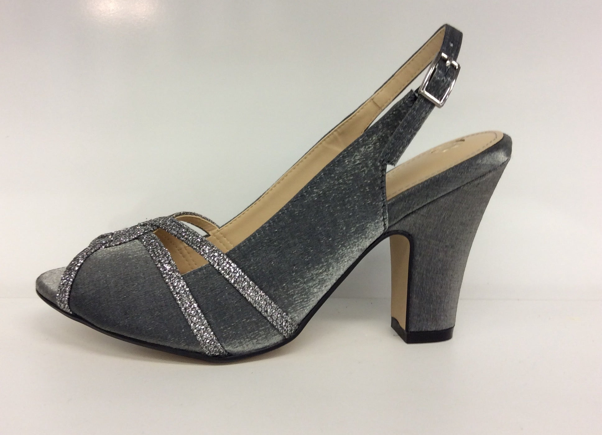6558ad5a56a7 Clarice - Toby - Grey Glitter Satin Evening Shoe - Sole Sister Shoes
