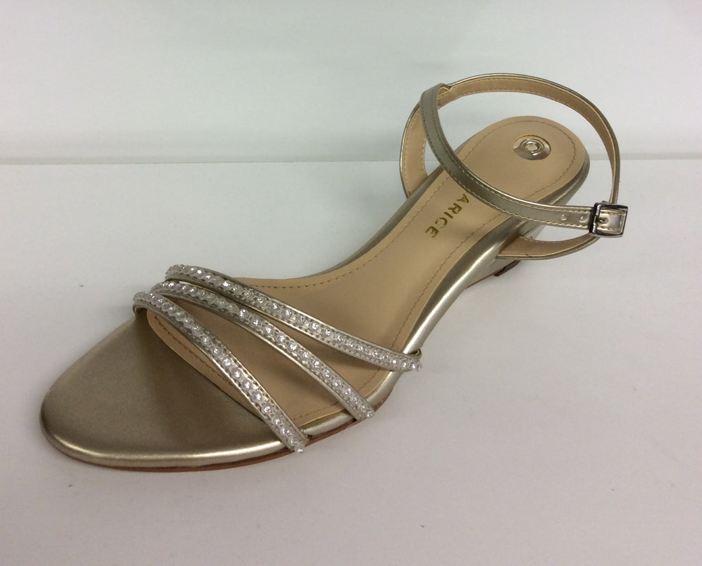 Clarice - Lilia -  Gold Evening Wedge with Diamantes