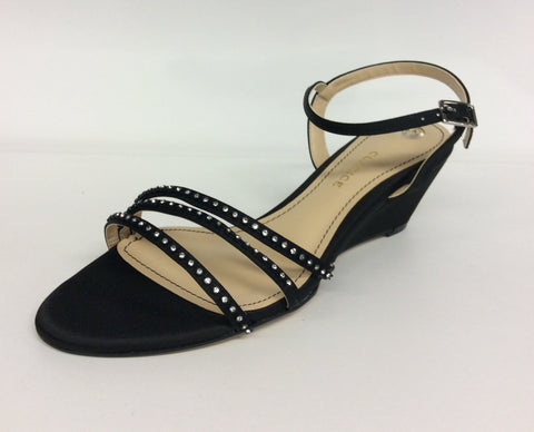Clarice - Lilia -  Black Satin Evening Wedge with Diamantes - Sole Sister Shoes