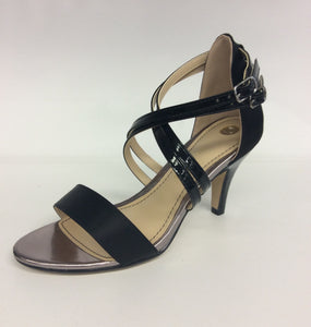 Clarice - Cecelia -  Satin/Patent Shoe - Black - Sole Sister Shoes