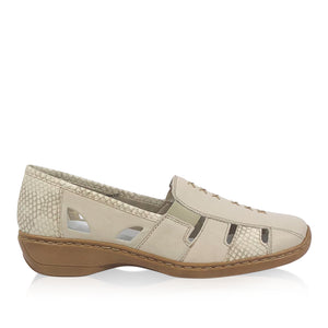Rieker - 41385 - Beige Leather Slip On