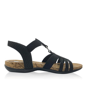 Comfort Black Summer Sandal by Reiker